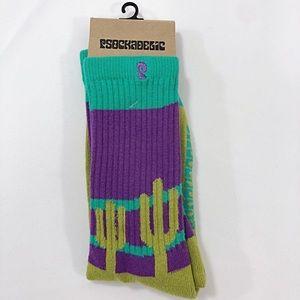 PSOCKADELIC Cactus Socks Olive & Purple Cozy OSFA